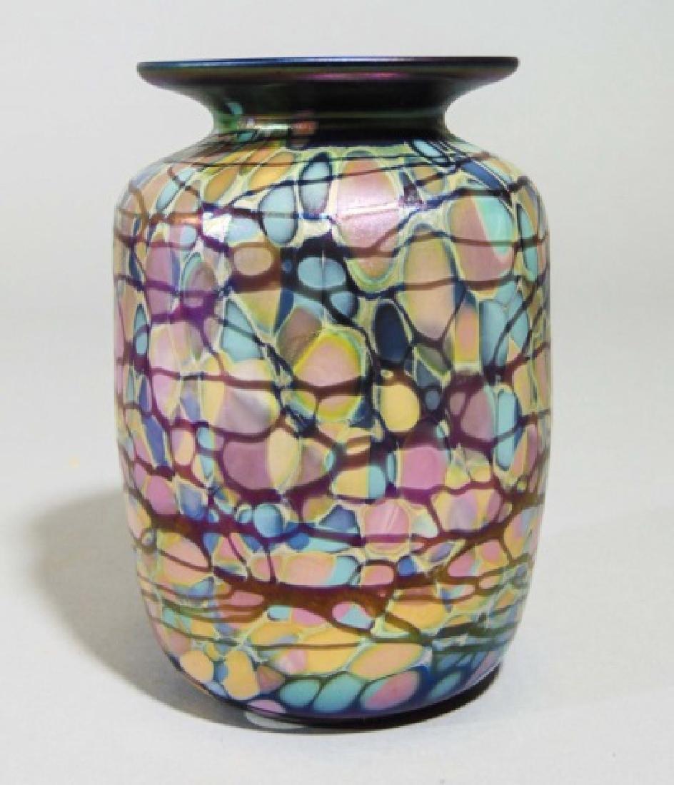 Signed Art Glass Purple Aurene Millefiori Vase - 2