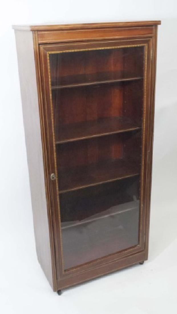 Wood Curio Cabinet with Glass Door & Key Latch