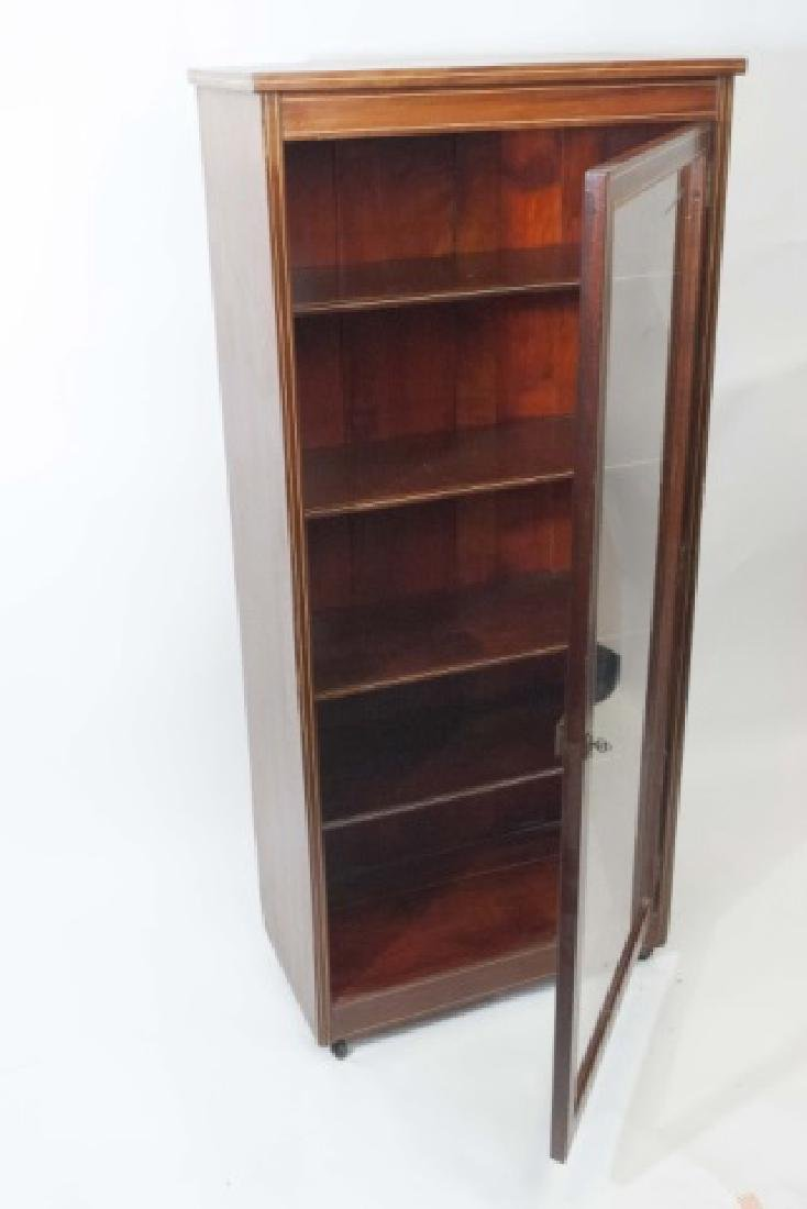 Wood Curio Cabinet with Glass Door & Key Latch - 4