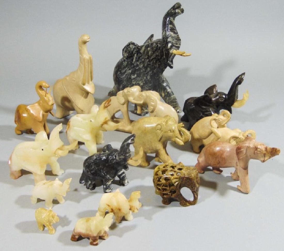 Collection of 16 Carved Elephants ~ Stone & Marble