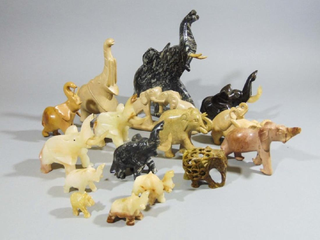 Collection of 16 Carved Elephants ~ Stone & Marble - 9