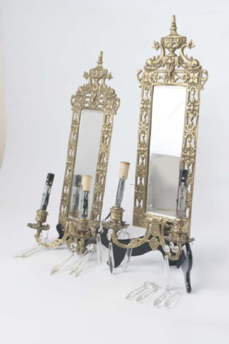 Pair Antique Brass Wall Sconces wBeveled Mirrors - 2