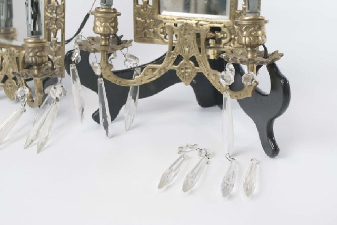 Pair Antique Brass Wall Sconces wBeveled Mirrors - 3