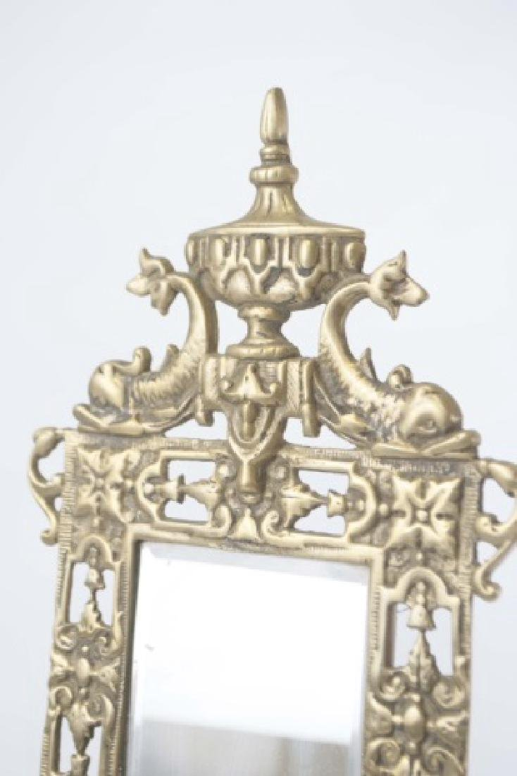 Pair Antique Brass Wall Sconces wBeveled Mirrors - 5