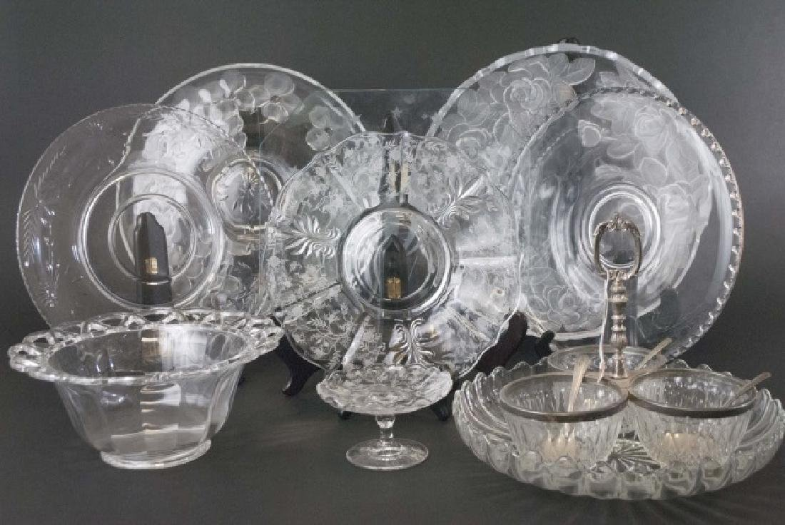 Collection of 10 Crystal & Glass Serving Pieces
