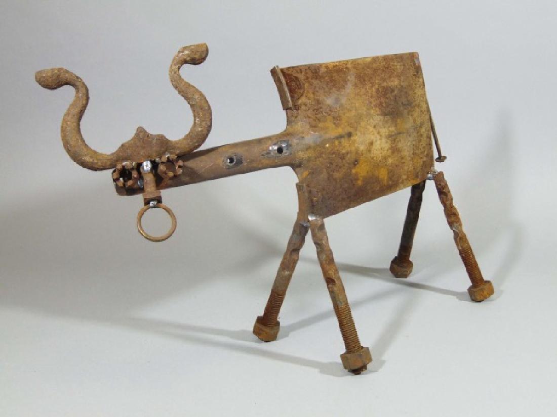 Creative Metal Bull Sculpture from Shovel & Bolts
