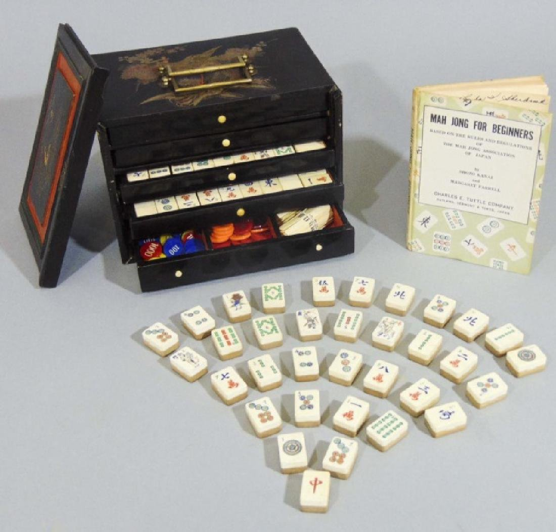 Vintage Mah Jong Wooden Game Set with Rule Book