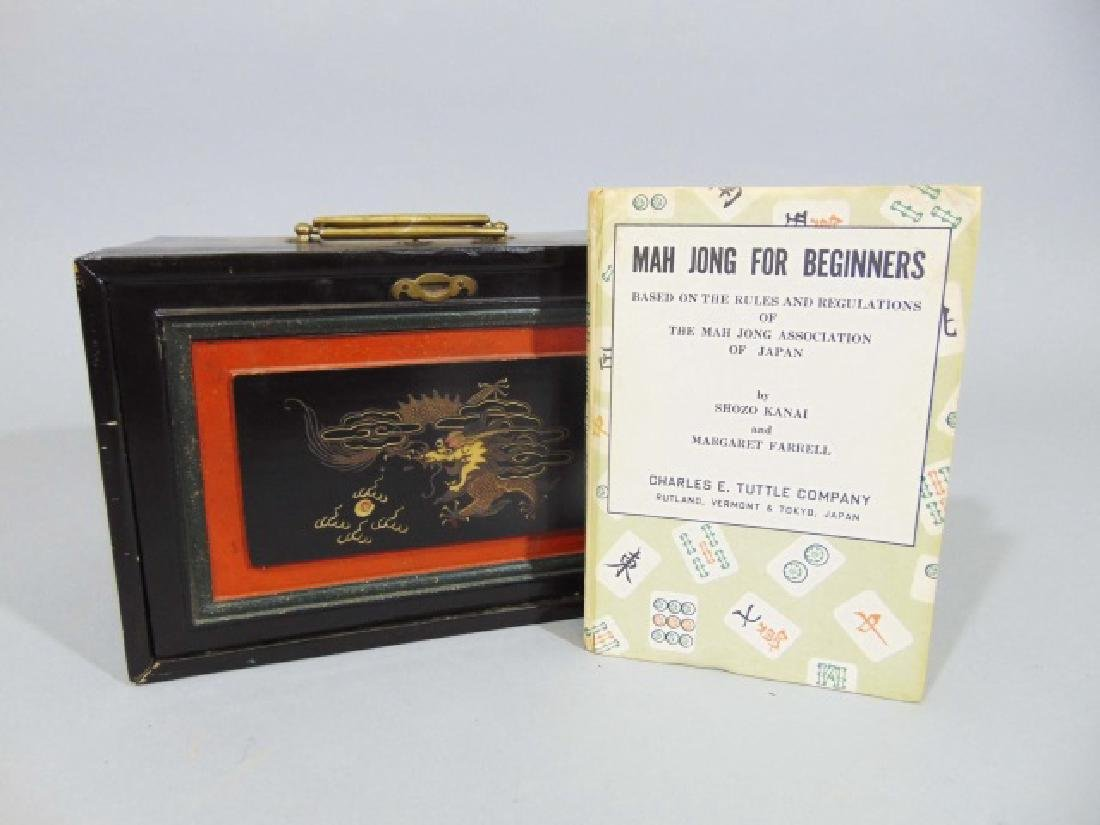 Vintage Mah Jong Wooden Game Set with Rule Book - 3