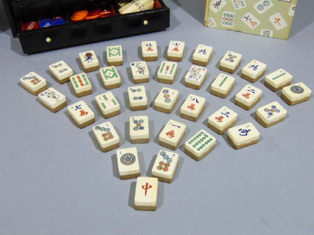 Vintage Mah Jong Wooden Game Set with Rule Book - 4