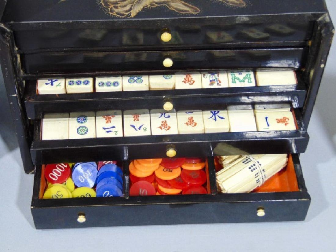 Vintage Mah Jong Wooden Game Set with Rule Book - 5