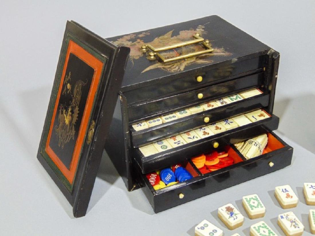 Vintage Mah Jong Wooden Game Set with Rule Book - 6