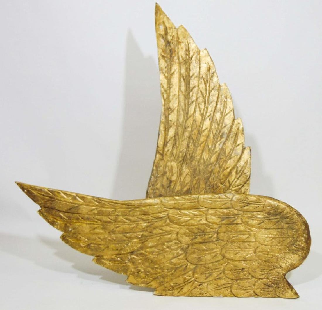 Pair of Ornamental Wooden Gold Wings