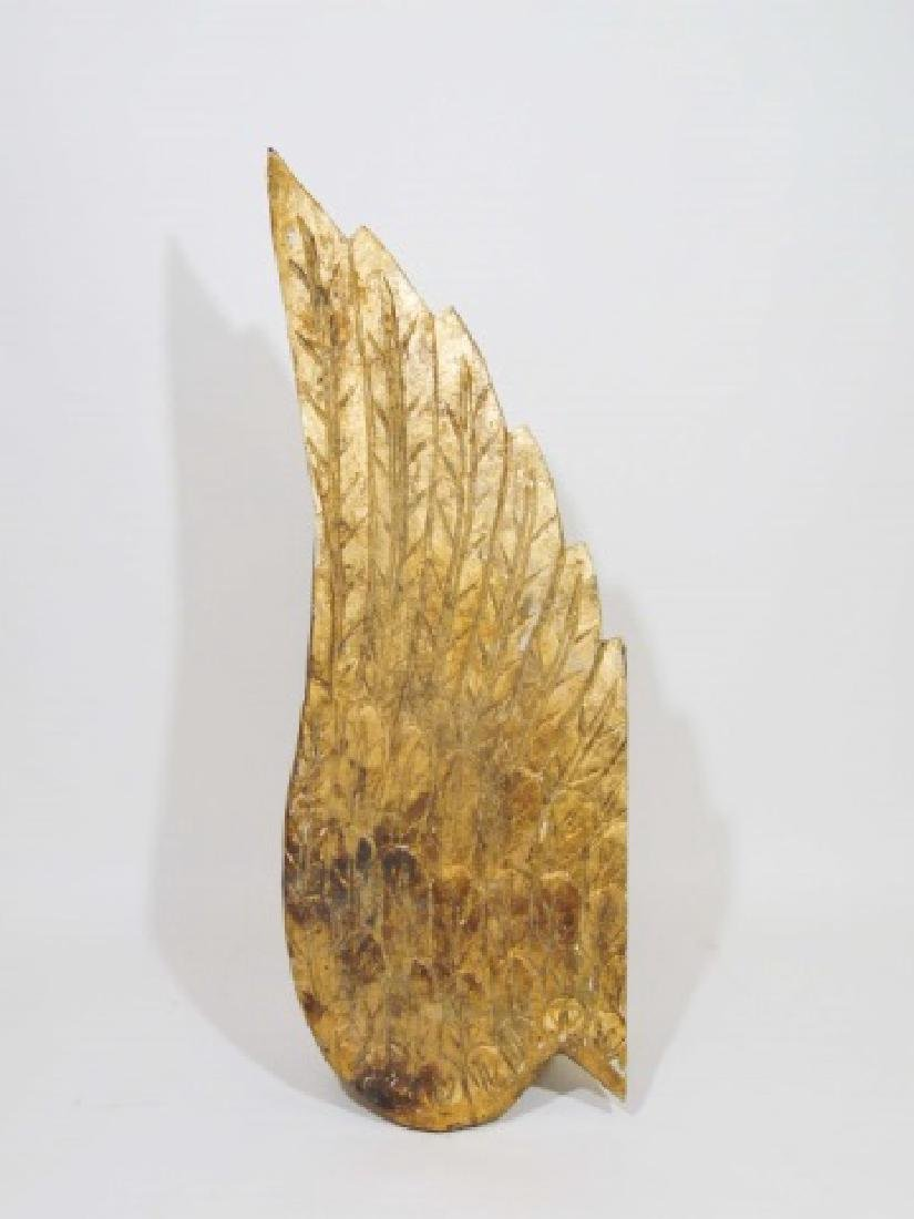 Pair of Ornamental Wooden Gold Wings - 3