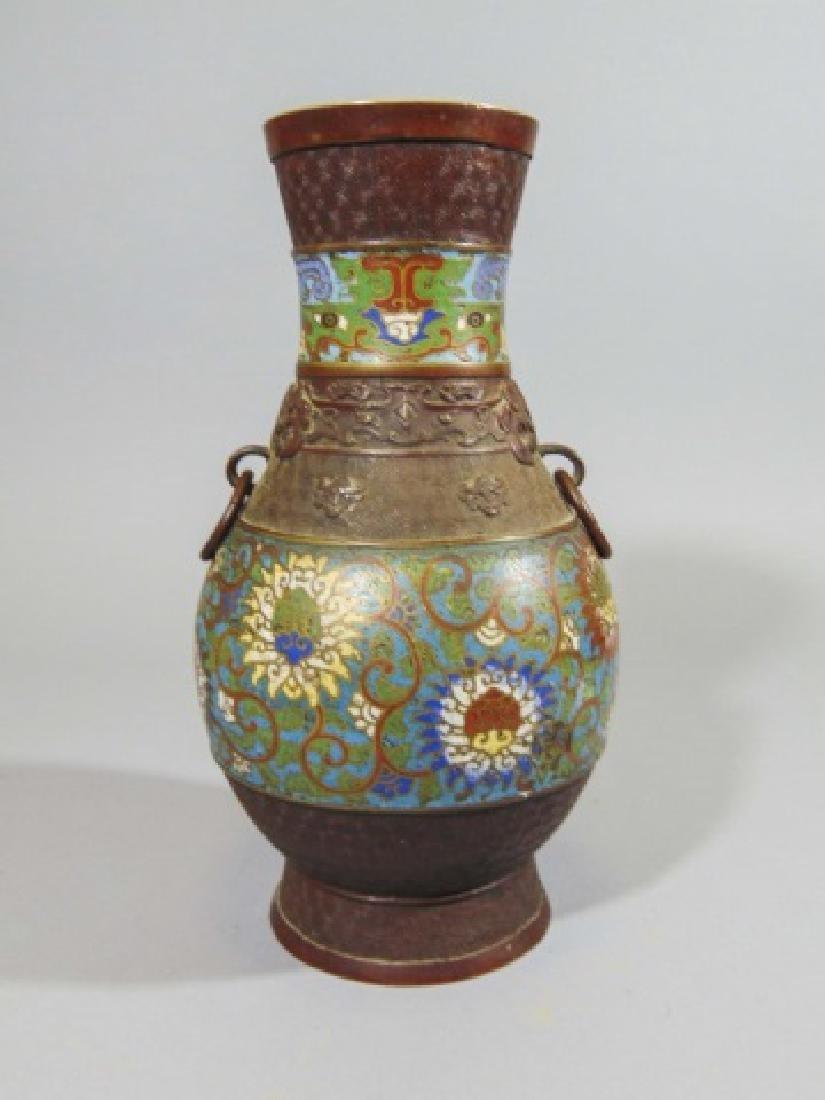 Japanese bronze vase w cloisonne bands antique japanese bronze vase w cloisonne bands reviewsmspy