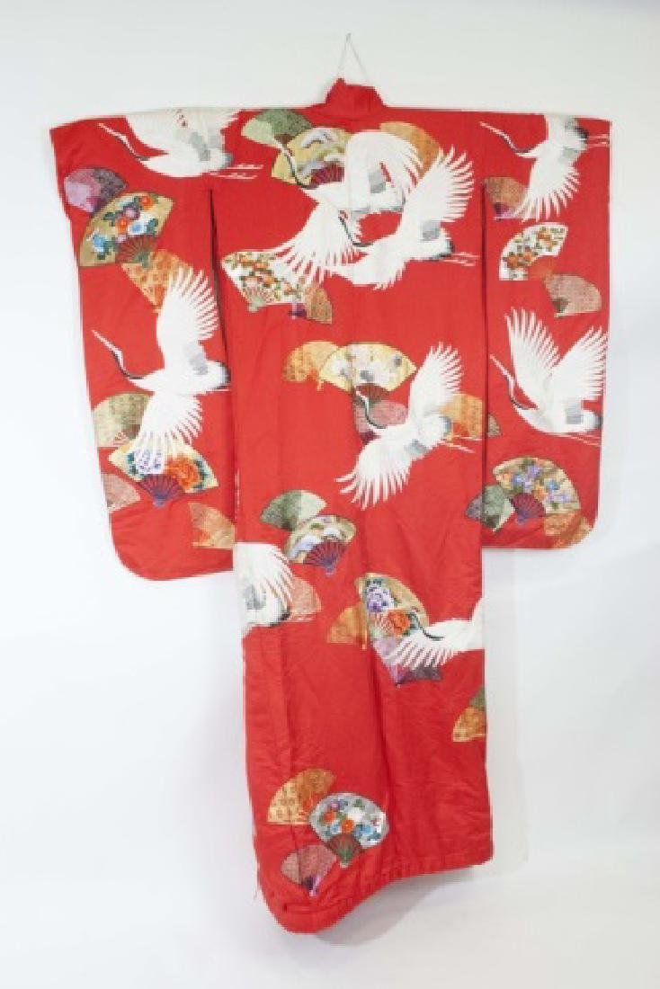 Red Silk Embroidered Japanese Kimono