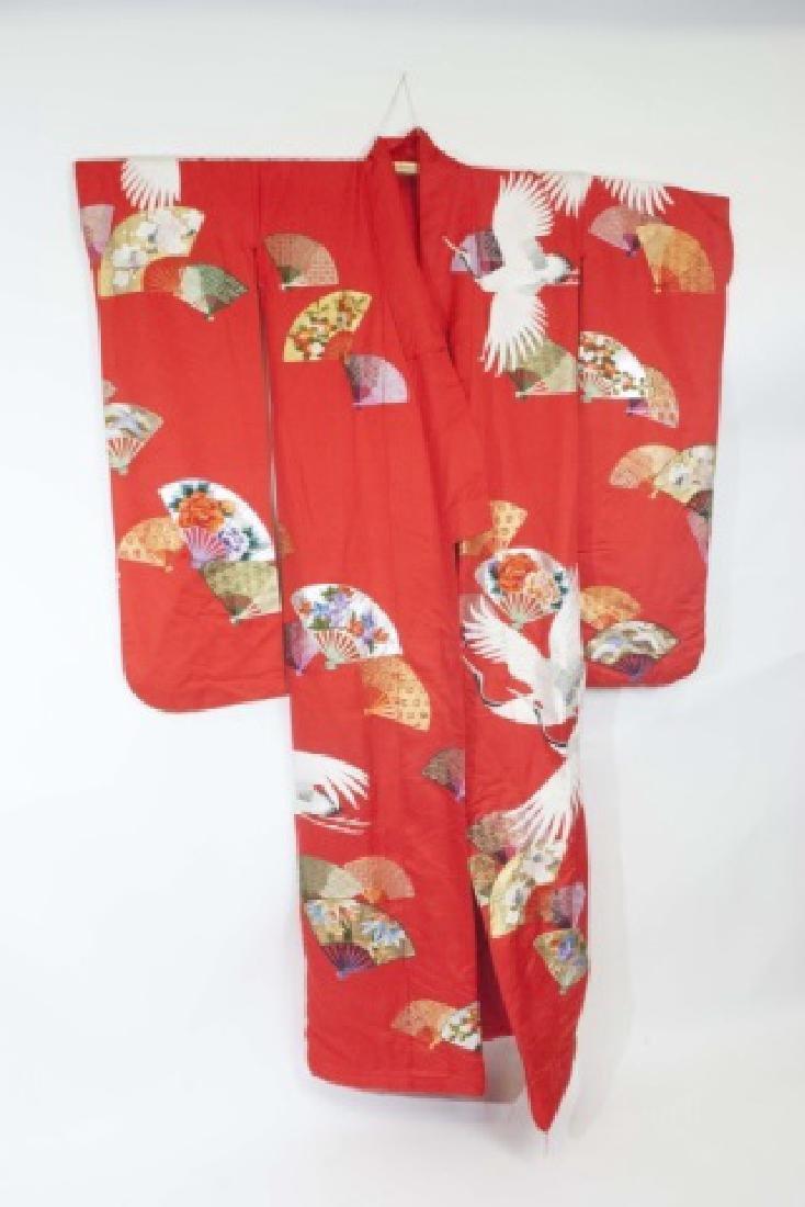Red Silk Embroidered Japanese Kimono - 2