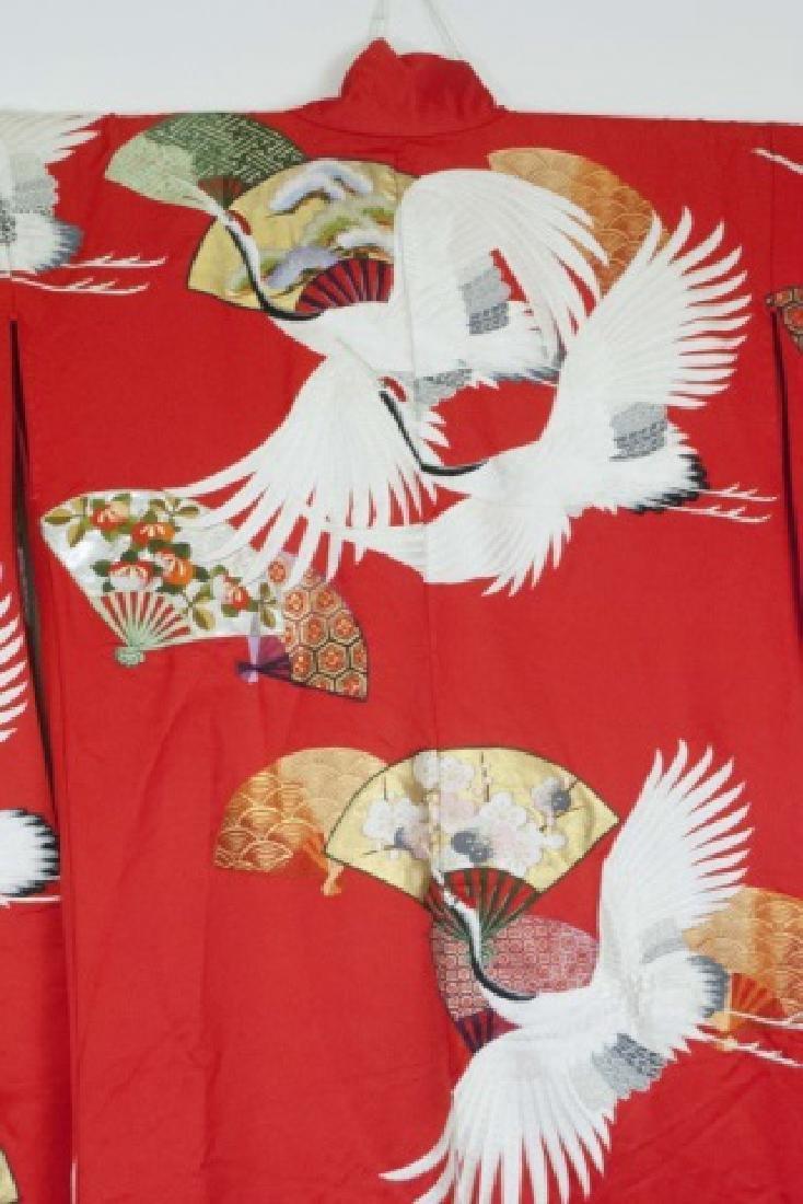 Red Silk Embroidered Japanese Kimono - 3