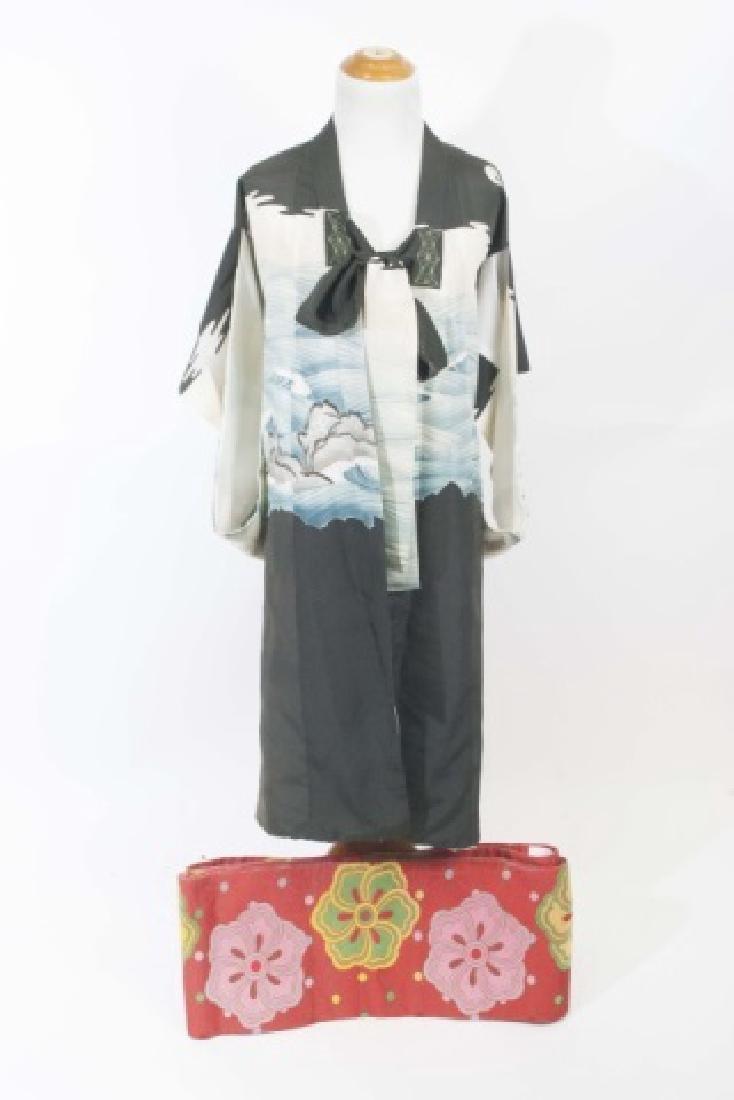 Japanese Silk Kimono & Colorful Fabric Banner