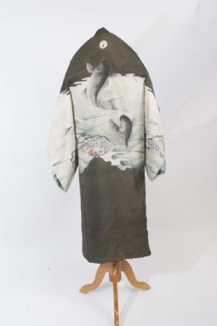 Japanese Silk Kimono & Colorful Fabric Banner - 4