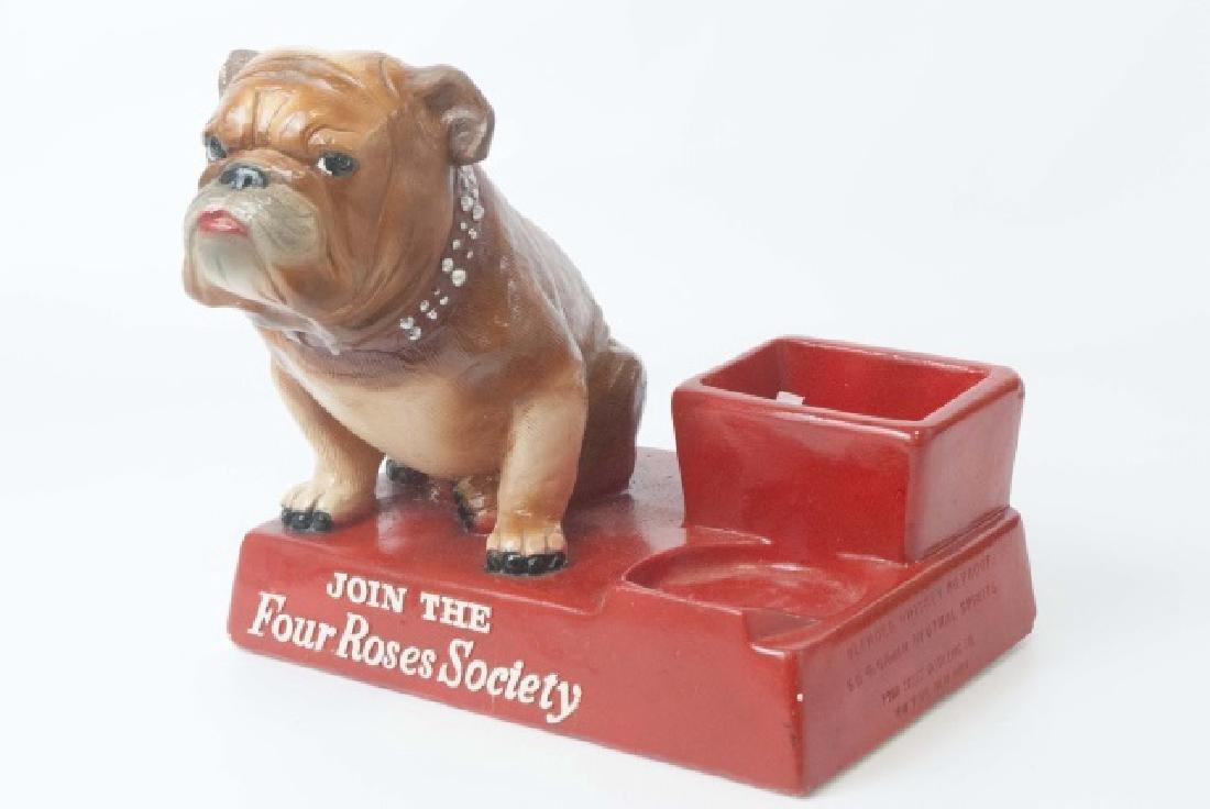Vintage 4 Roses Back Bar Statue with Bulldog