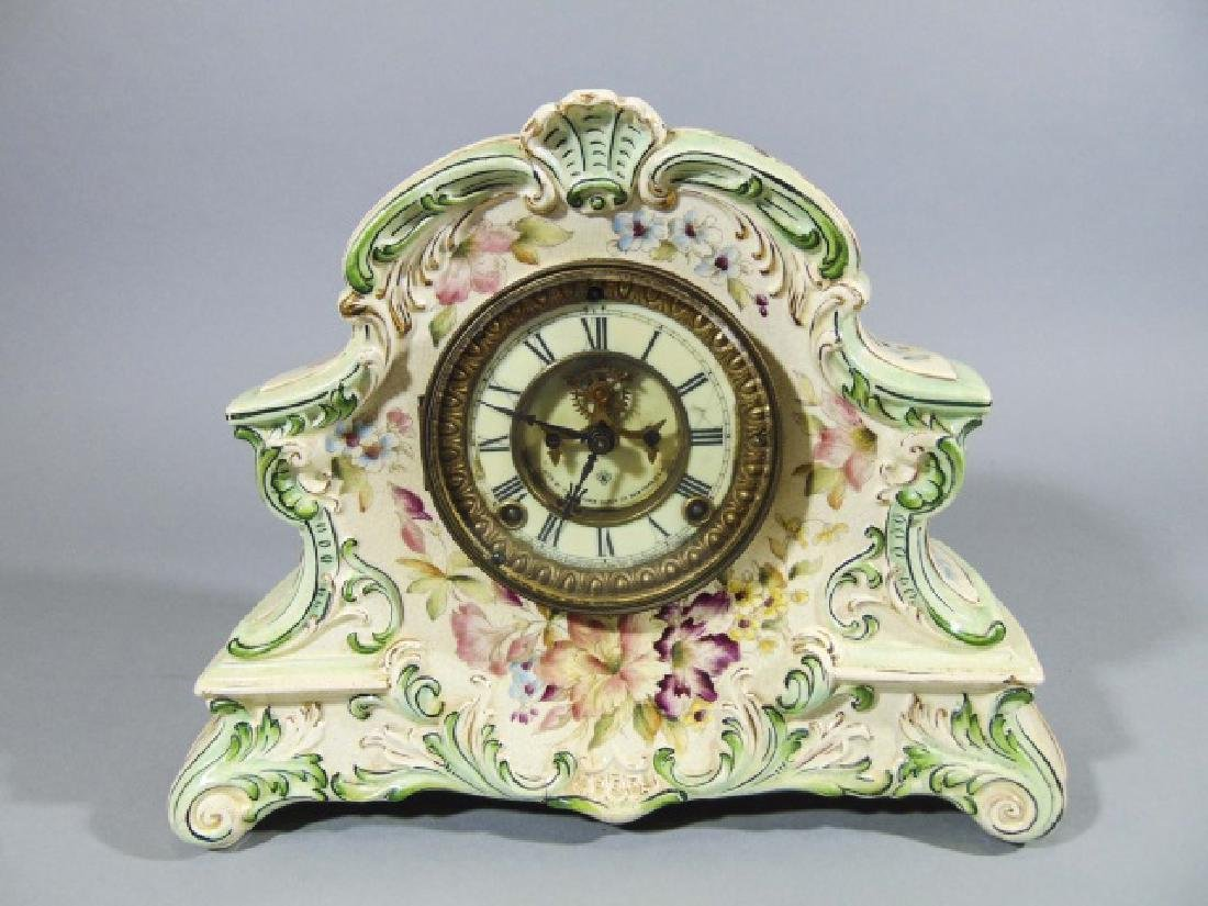 Ansonia Company Porcelain-Encased Mantle Clock