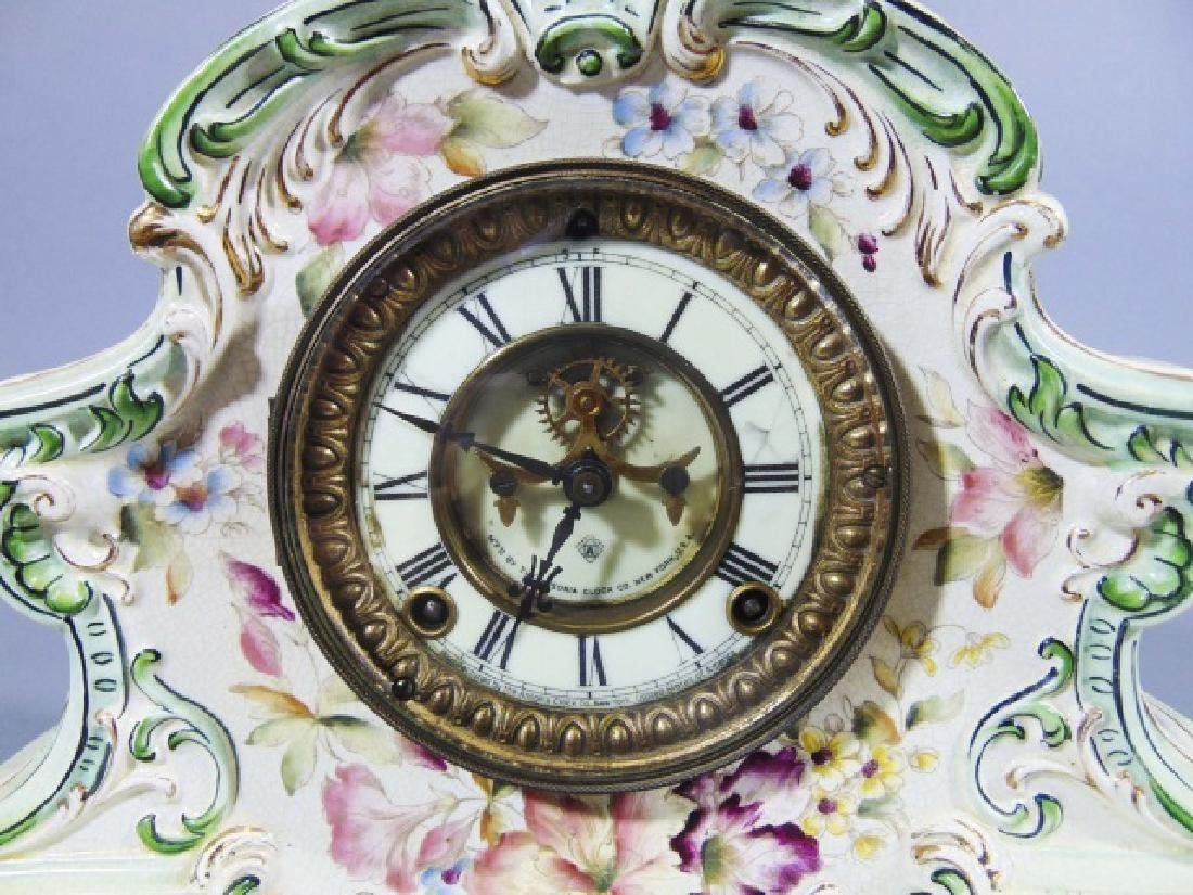Ansonia Company Porcelain-Encased Mantle Clock - 2