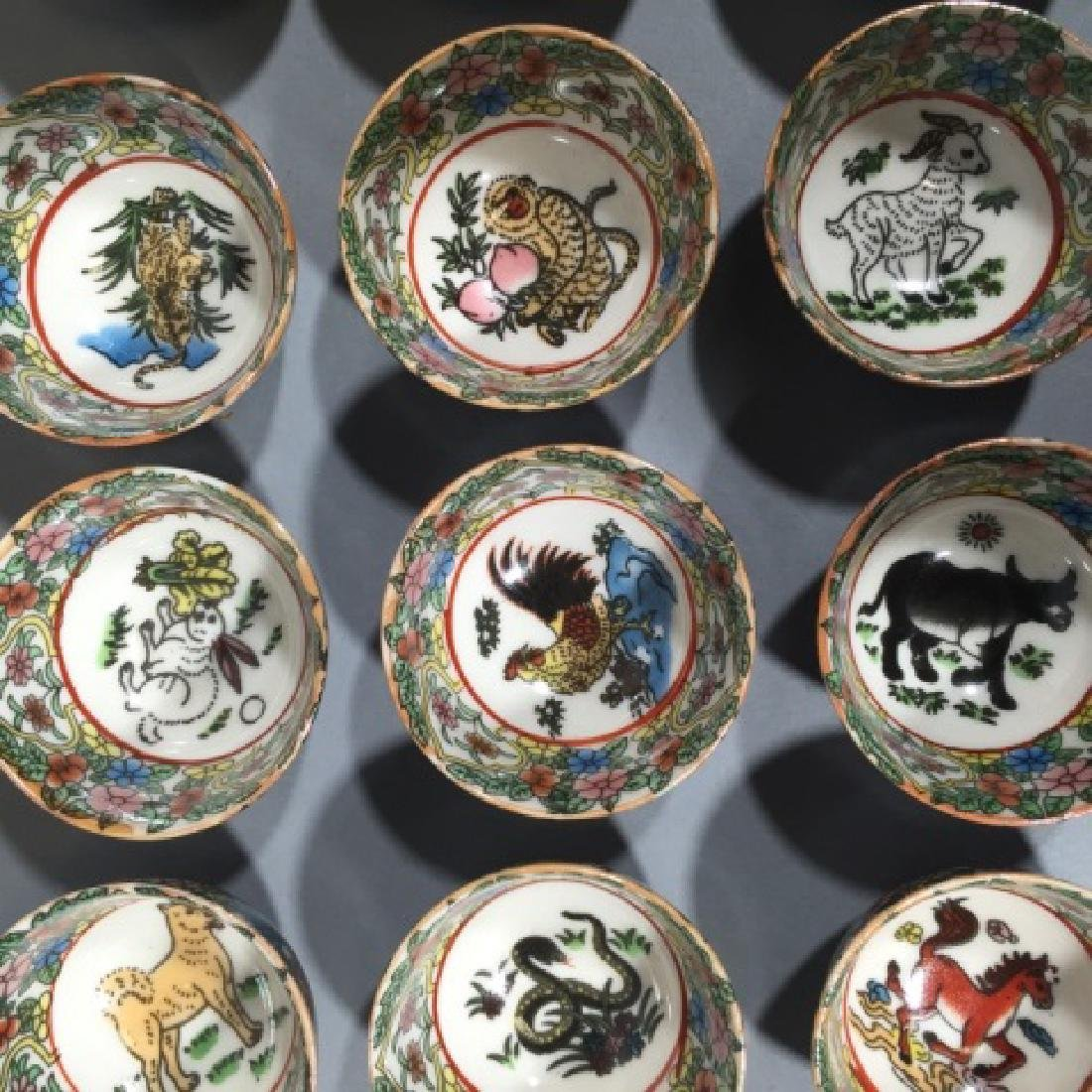 Set of 12 Chinese Porcelain Zodiac Tea Cups - 2