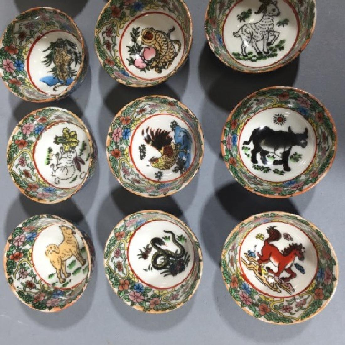 Set of 12 Chinese Porcelain Zodiac Tea Cups - 3