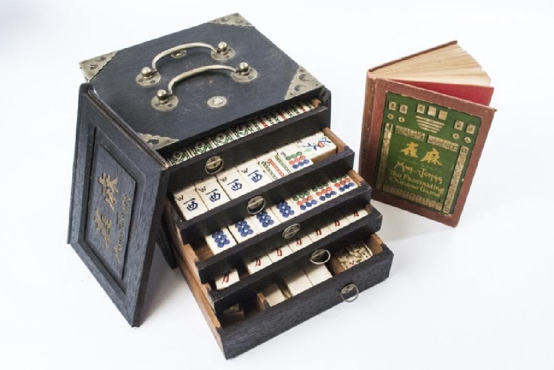 Vintage Bone Mahjong Game Set in Wooden Box