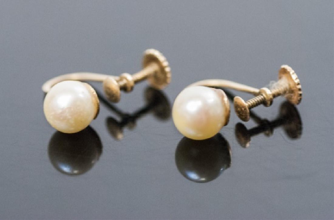 Pair Estate 14kt Yellow Gold & Pearl Earrings