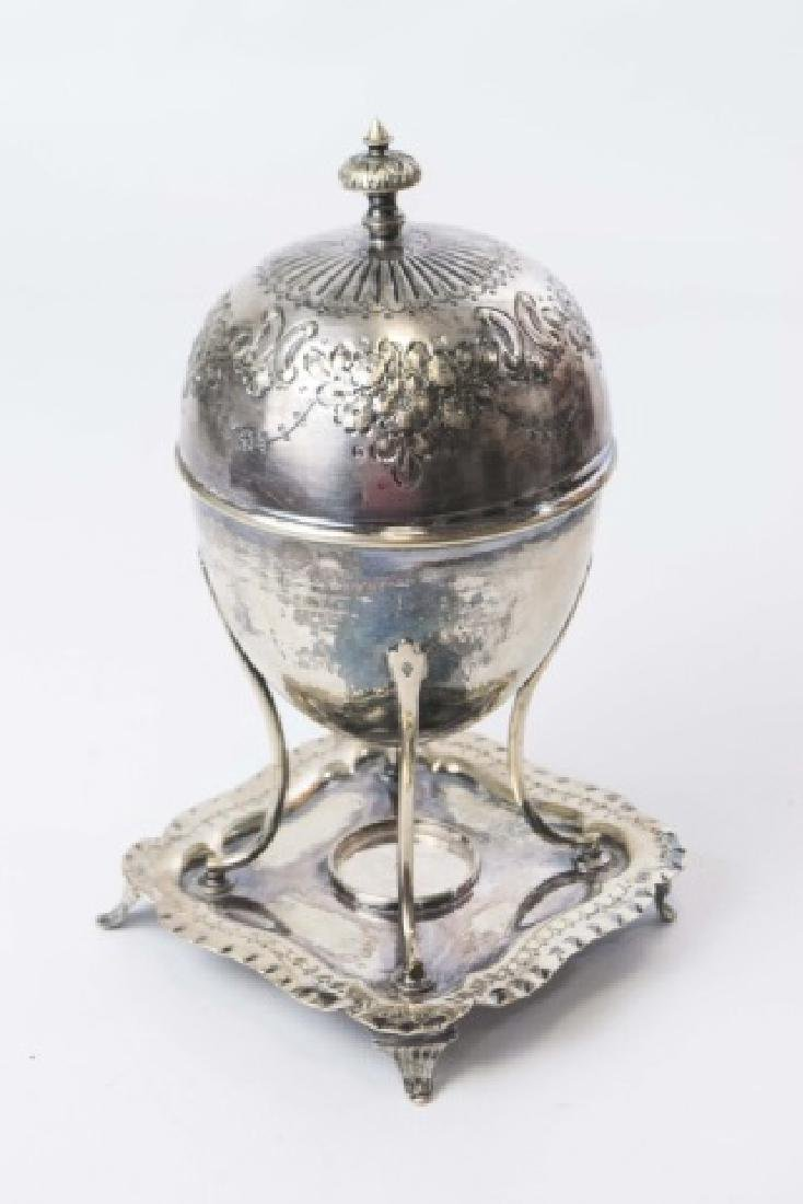 Antique Silver Plate Chased Egg Boiler on Stand