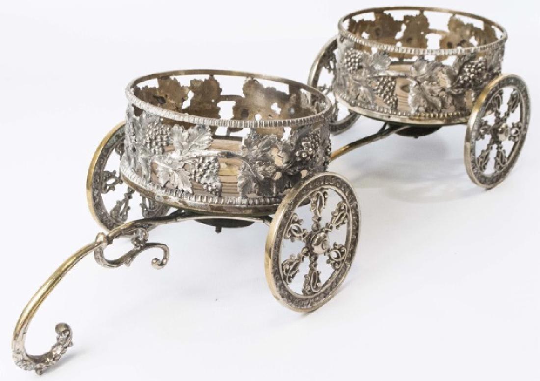 Silver Plate Figural Wagon Form Wine Caddy