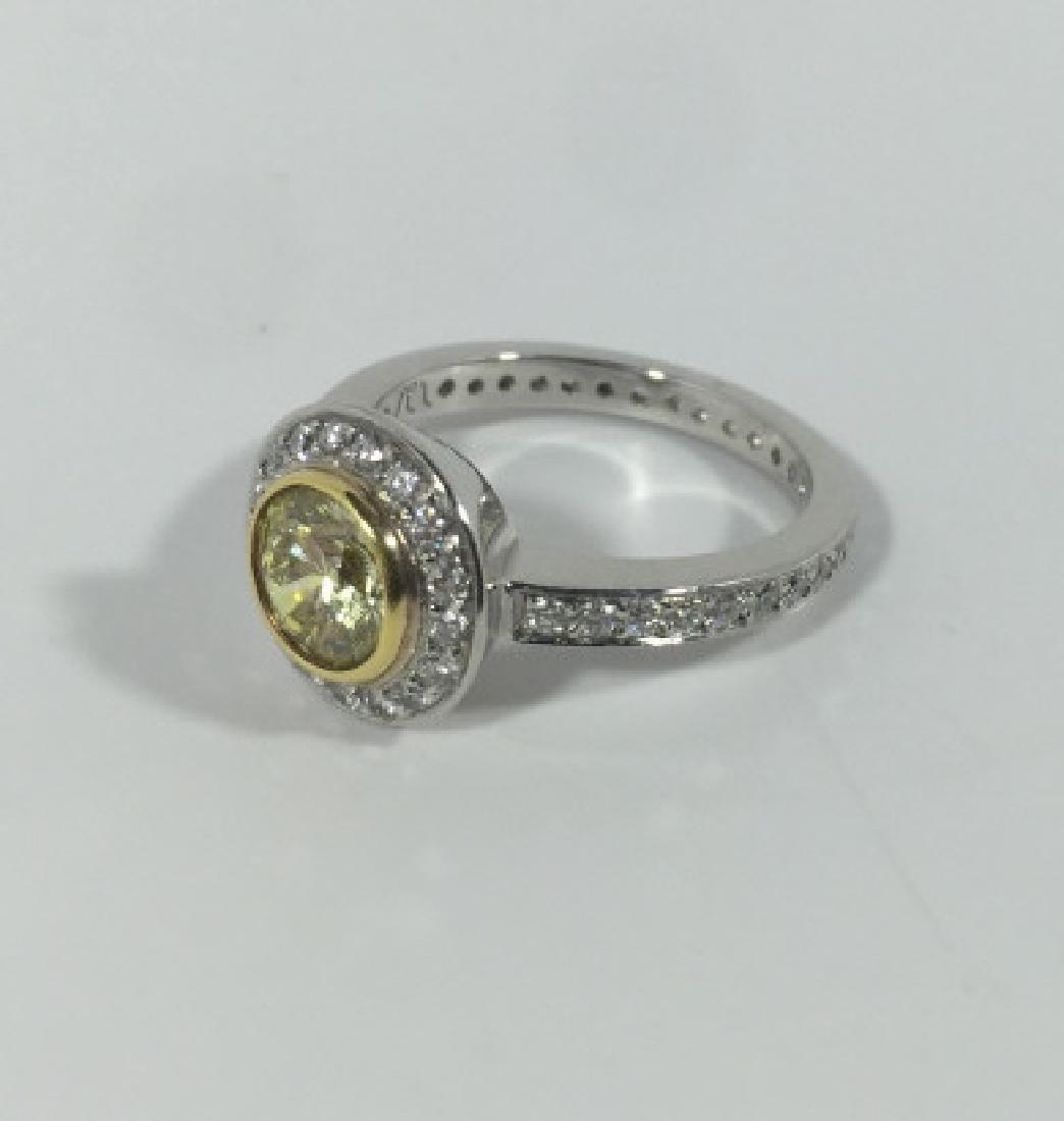 2.8 Carat Canary Yellow & White Diamond Ring w GIA