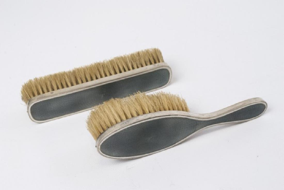 Antique French Sterling & Guilloche Brush Set