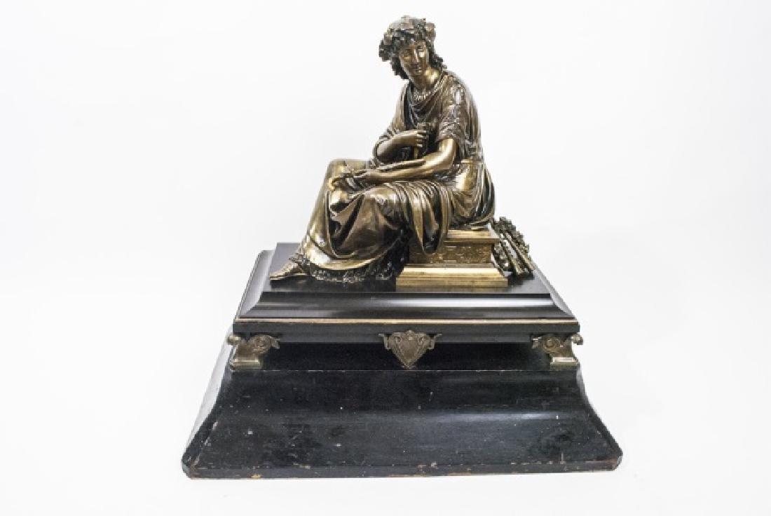 Large Antique 19th C Bronze on Pedestal of Bacchus