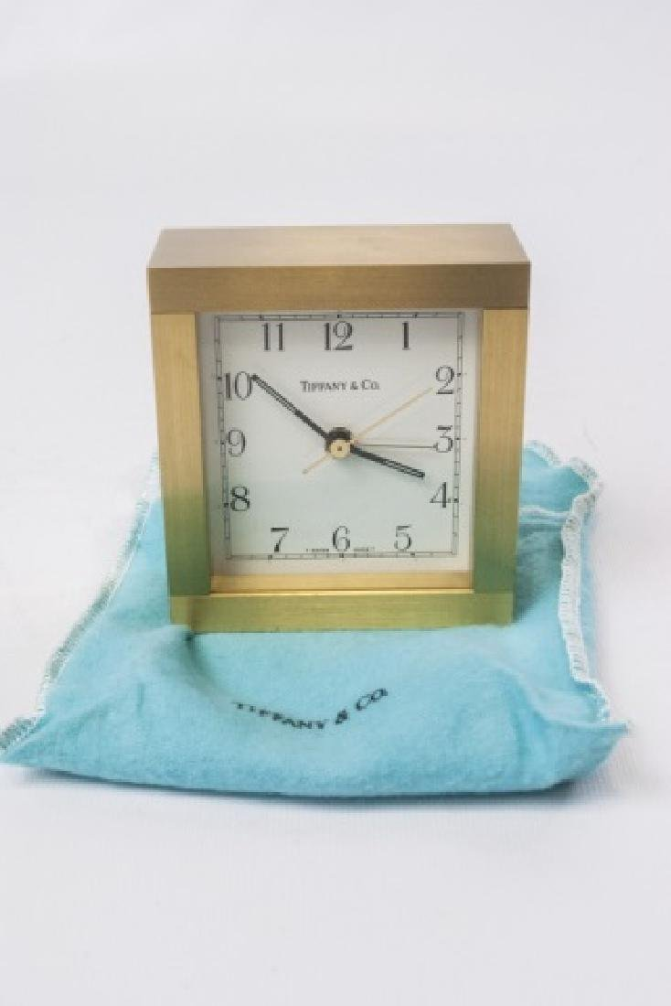 Classic Tiffany Brushed Gold Tone Desk Clock