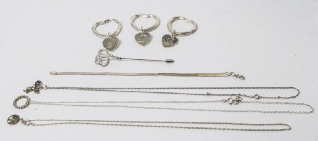 Group of Sterling Silver Items, Key Chains & Pins