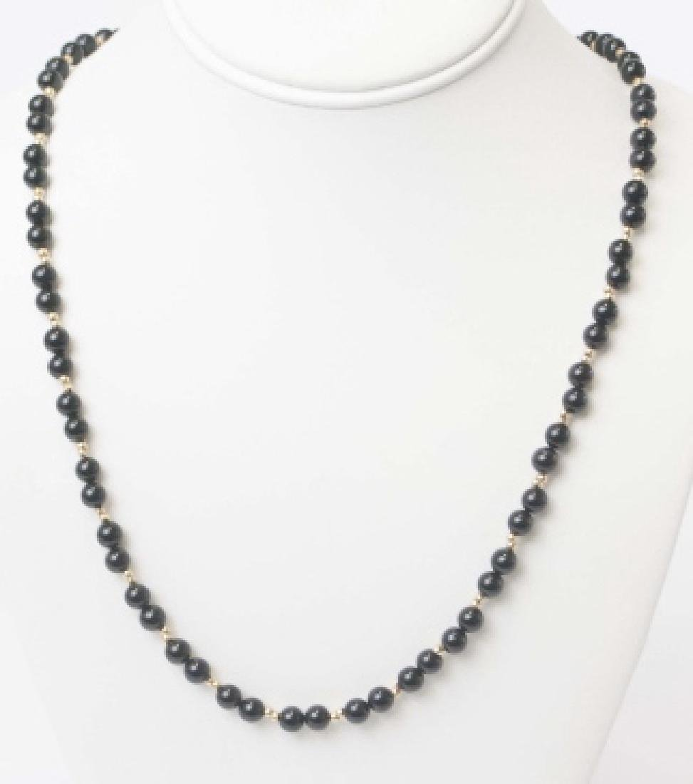 Onyx Bead & 14k Yellow Gold Clasp & Bead Necklace