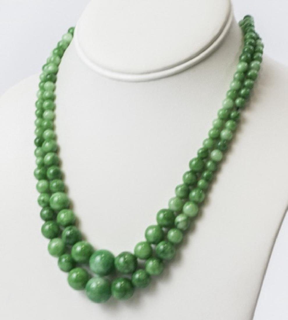 Pair Green & White Chinese Jade Beaded Necklaces