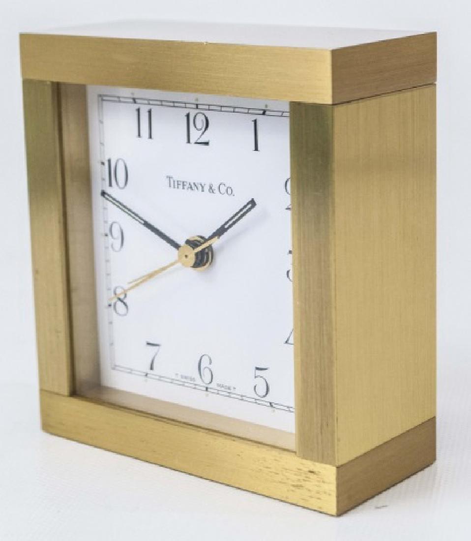 Classic Tiffany Square Gold-Tone Case Clock