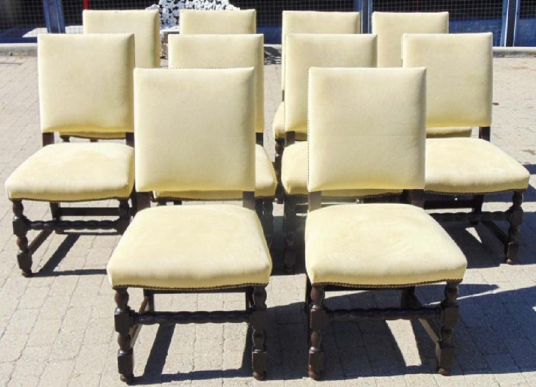Set of 10 English Tudor Style Dining Side Chairs