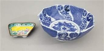 Chinese Canton Enamel Dish & Porcelain Bowl