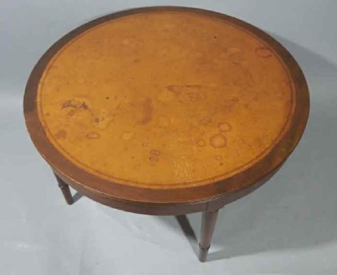 Mid Century Embossed Leather Top Coffee Table