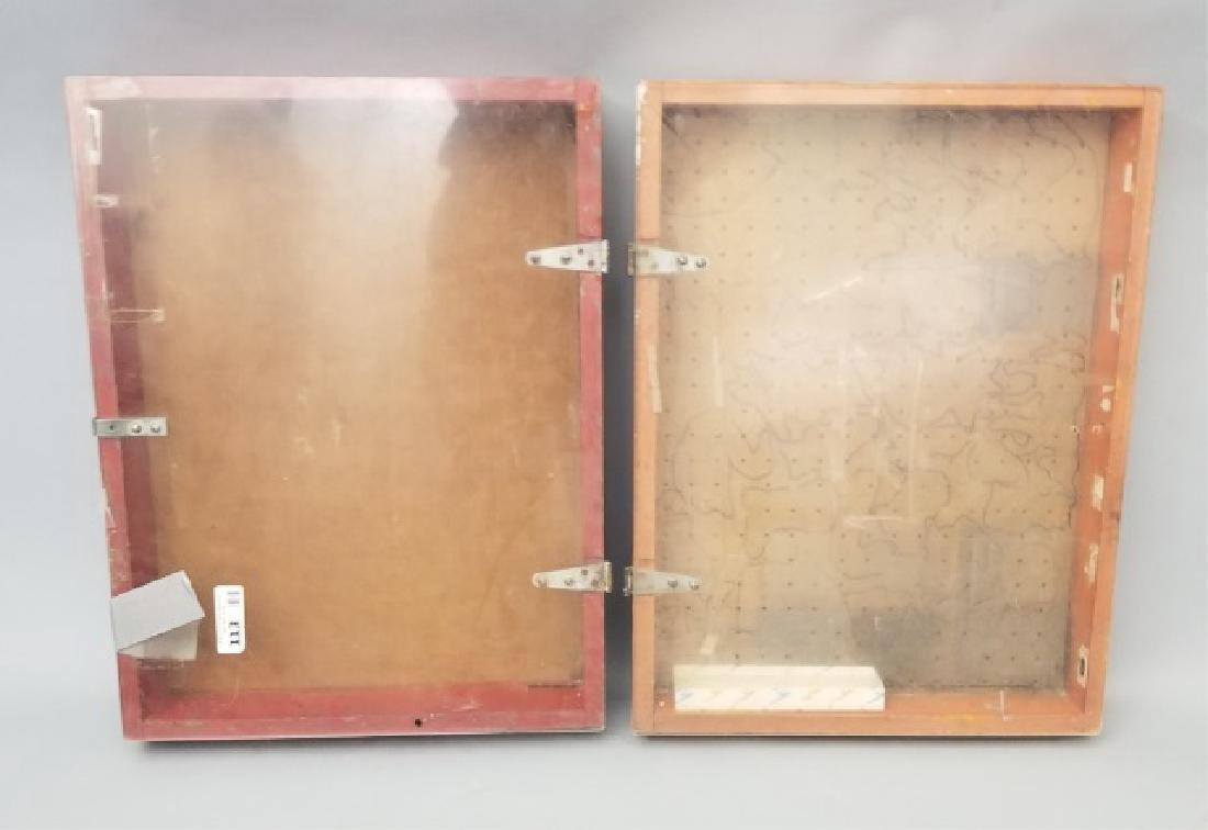 Pair of Vintage-Style Wood Lidded Display Cases