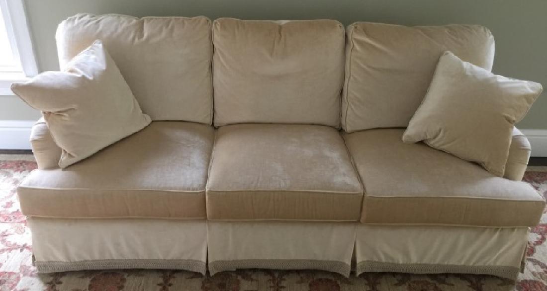 Custom Contemporary Velvet Sofa w Pair of Pillows