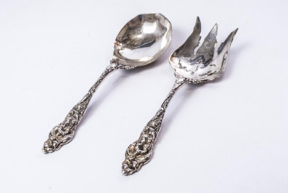 Large Antique Sterling Silver Serving Fork & Spoon