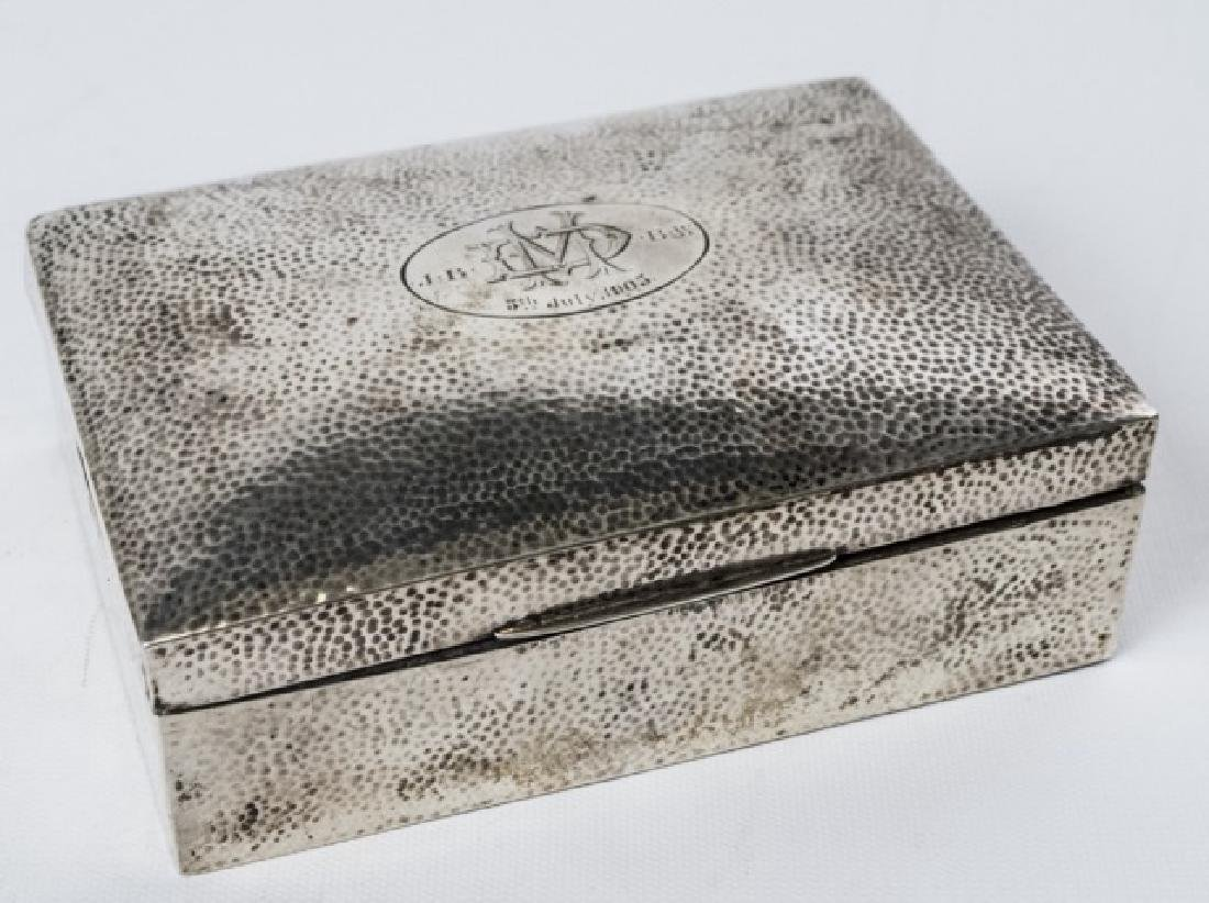 Large Antique Sterling Silver Hand Hammered Box