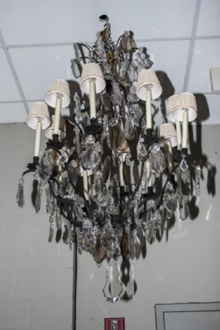 Large French Style Crystal 12 Arm Chandelier