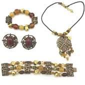 Vintage 80s Ethnic Costume Jewelry  Stone  Glass