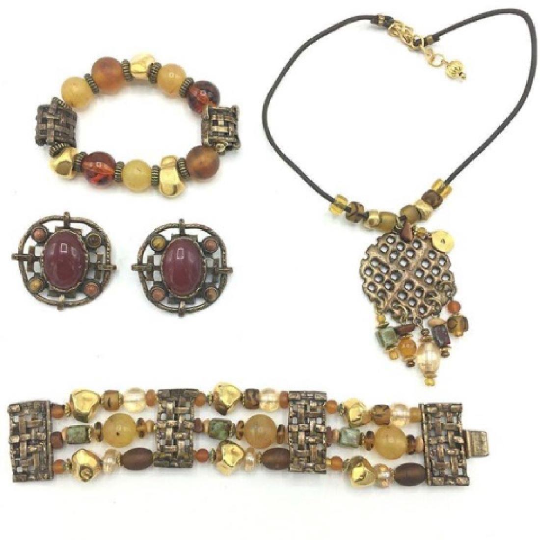 Vintage 80s Ethnic Costume Jewelry - Stone & Glass
